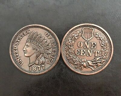 "one cent 1877 giant coin indian head usa 3"" Diameter"