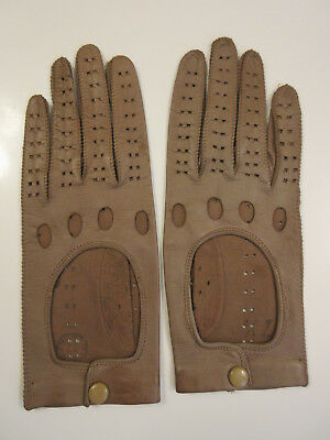 Vtg Leather Motorcycle Driving Riding Gloves Open Back Knuckle Holes Snap - Tan