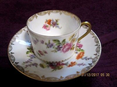 Pretty Little Porcelain Cup & Saucer Germany Mixed Floral Lots Gold Trim