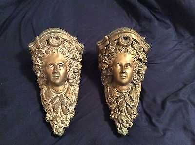 Beautiful Large Ceramic Vintage Pair of Gold Gilt Angel Face Wall Sconce Shelves
