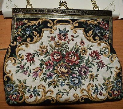 Ronte Of Beverly Hills Clutch Purse Black and Floral New old stock