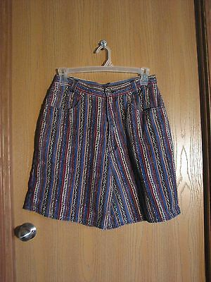 Womens Vintage Stefano International Striped Print Denim Shorts SZ.18