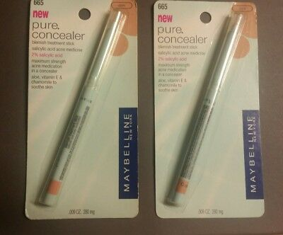 2 X Maybelline #665 Dark, Pure Concealer, Blemish Treatment Stick, Carded