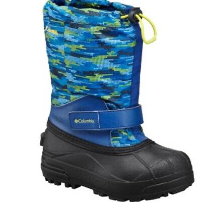 Columbia Toddler Boy Sz 8 Powderbug Forty Winter Snow Boot Print Blue Waterproof