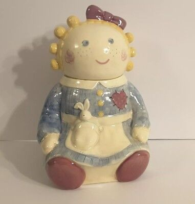 Vintage Ceramic Country Girl With Pigtails and Bunny Rabbit Large Cookie Jar