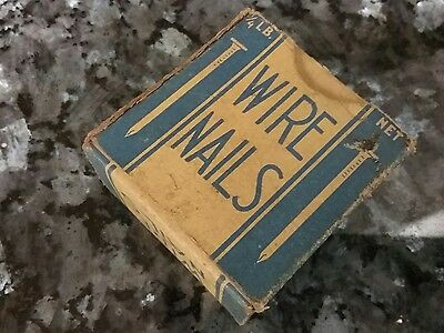 "Vintage 1/4 lb Box of 1/2"" Flat Head Wire Nails in vtg blue Box"