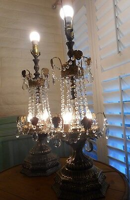 Pair Hollywood Regency Large Mid Century Brass Crystal Prism Table Lamps