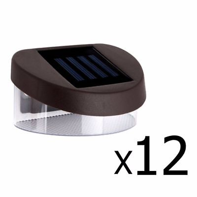 12X Solar Powered Fence Gutter Lights Outdoor Garden LED Yard Pathway Wall Lamp