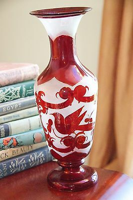 """Vase Antique Ruby Stained Glass W/ Gold Hand Painted Hand Blown Early 1900's 12"""""""