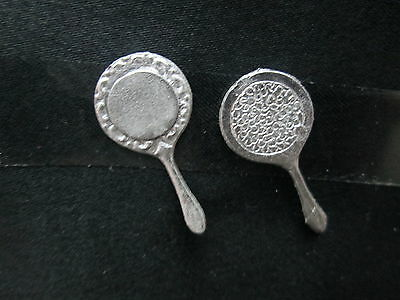 2 Dollhouse Miniature Unfinished metal hand Mirror #1
