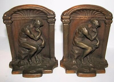 Antique 1920's Pair of Heavy Bronze Bookends Rodin's The Thinker Beautiful Cond.