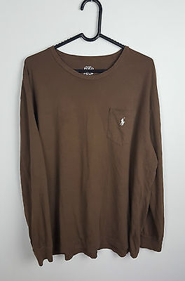 Mens Vtg Retro Ralph Lauren Brown Overhead Long Sleeve Top Thin Jumper Vgc L/xl