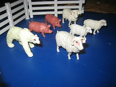 Farm Animals Action Figure Toys sheep and pigs and one polar bear