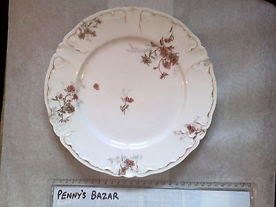 """ANTIQUE HAVILAND AND CO 10"""" PLATE PINK FLORAL SCALLOP EDGE GILT a/f chips crack"""