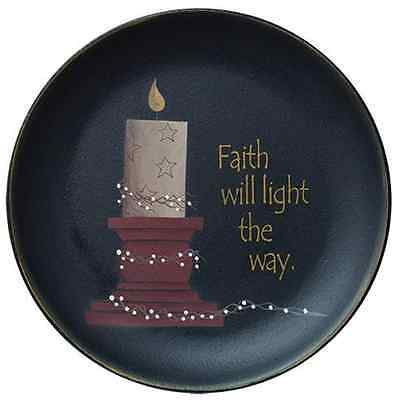 """Country Faith Will Light The Way Wooden Plate 11.5"""" Artist Donna White"""