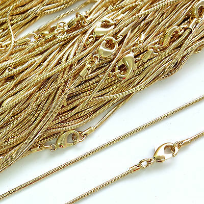 Top Quality Gold Plated Necklace Snake Chain 16 18 24 Inch