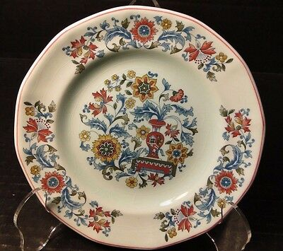 """Adams Calyx Ware Saraband Bread Plate Light Green Red 6"""" EXCELLENT"""