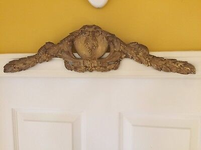 Center Pediment Antique French Ormolu Cabinet Furniture Mount
