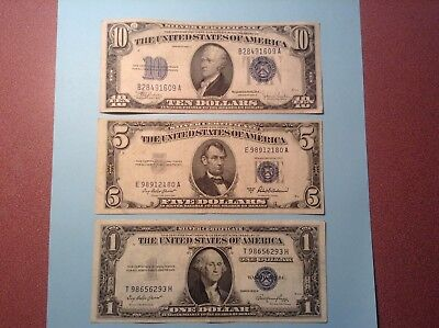 Silver Certificates   1934 $ 10.00 /  1953  $ 5.00 /  1935 $ 1.00 (  3 Notes )