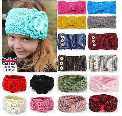 Baby Girls Winter Turban Crochet Bow Knitted Wool Headband Headwrap Ear Warmer