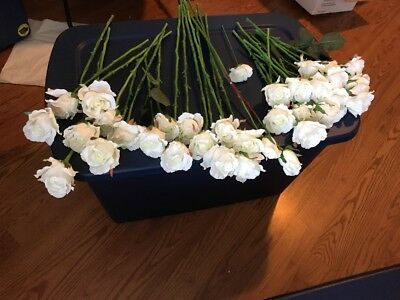 Lot Of 33 Artificial White Rose Flower Silk Wedding