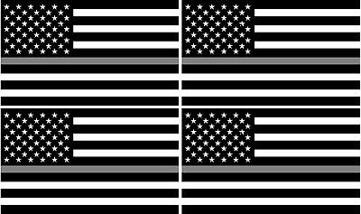 "2-4/"" Thin SILVER Line BLACK WHITE American Flag Decal Corrections Sticker RL"