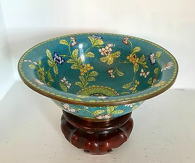 "Beautiful Old 8""+ Vintage Chinese Blue Floral Cloisonne Bowl ~Marked ~ Stand"