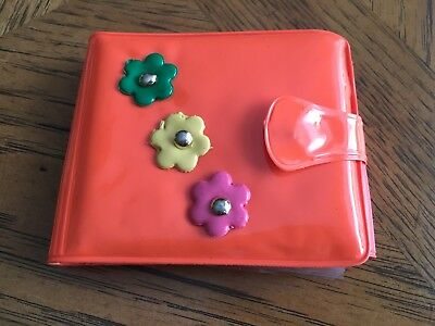 Vtg Retro 60's Hippie Dippie Flower Power Ladies Vinyl Plastic Wallet Orange
