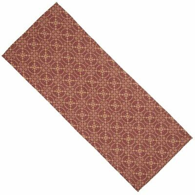 Primitive Country Marshfield Jacquard Table Runner 14X36 Barn Red Tan Cotton