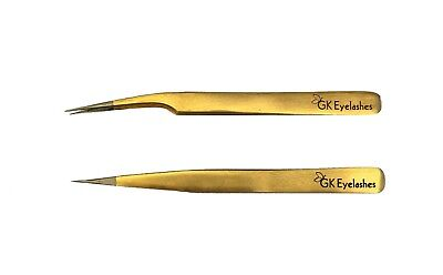 GOLD color eyelash extension TWEEZERS STRAIGHT & CURVED, 2 PCS