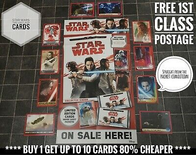 Topps Star Wars The Last Jedi Cards, Buy 2 Get 10 Free, Numbers 1-160 & 169-200