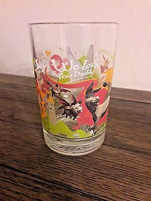 McDonald's Shrek the Third Dreamworks Glass Cup - We Love You Daddy - Donkey