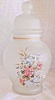 Vintage Viking Glass Frosted Apothecary Jar White Pink Flowers Made in USA