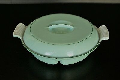 Vintage DRU Cast Iron Enamel Divided Dish Made in Holland Mint Green EUC #22