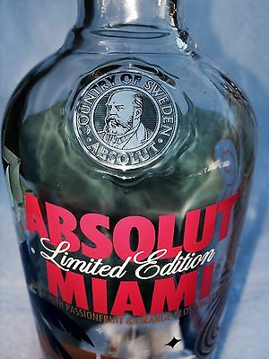 ABSOLUT MIAMI VODKA - LIMITED EDITION 750ml (Empty) BOTTLE - FREE Shipping!