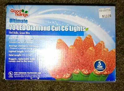 70 led diamond cut c6 christmas lights good tidings red bulbs green wire