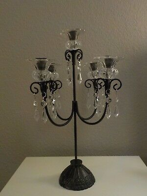 CANDELABRA Black Wrought Iron Candle Holder Glass Flower SHADES Taper Candle