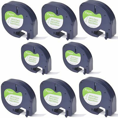 8PK Black on White Tape Label for DYMO Letra Tag Lablemaker LT 91330 12mm 1/2""
