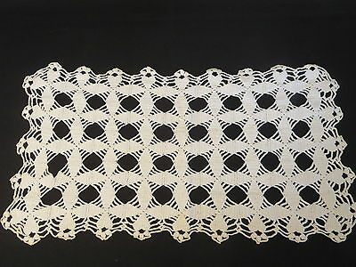 """Crochet Crocheted Off White Table Topper Placemat 11"""" x 20 1/2"""""""