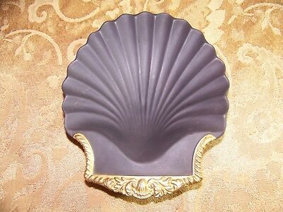 Vintage Mottahedeh Designs Black Basalt Seashell Shell Dish Gold Trim Made In It