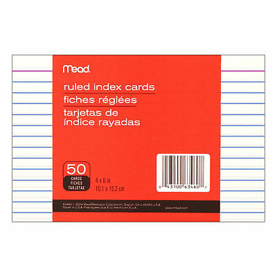 Mead Index Cards Ruled 4 x 6 White 50 Per Pack