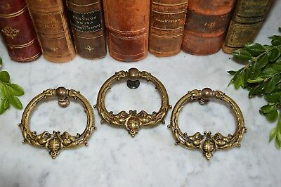 Antique French Set of 3 Brass Gothic Fish Drawer Pulls Handles