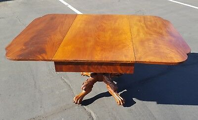 Antique Mahogany American Empire Drop Leaf Table Pembroke Carved Paw Feet c.1825