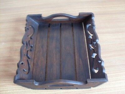 LARGE TEAK WOOD SERVING TRAY NEW UK DISPATCH ASIAN ORIENTAL DESIGN 35x32 cm
