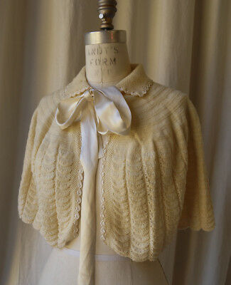 hand knit bed jacket capelette sweet refined satin bow