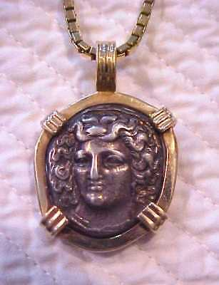 Ca 400 BC THESSALAY SILVER DRACHM COIN NYMPH LARISSA 14K GOLD FRAMED PENDANT