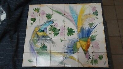 CERAMIC TILES MOSAIC DECORATIVE PANEL HAND PAINTED WALL MURAL ART 21in x 26in