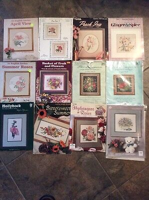 Floral Cross Stitch Charts Roses Tulips Iris Bouquets Baskets
