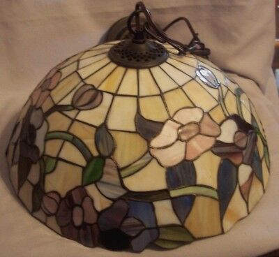Pre Owned Large Stained Plastic Tiffany Style Hanging Lamp Direct Wire
