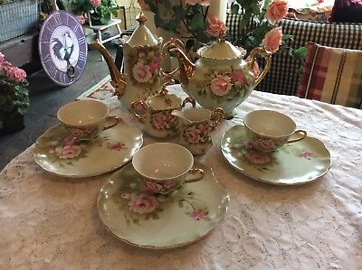 Vintage Lefton China Heritage Green Pink Roses Tea Set Hand Painted 13 Pieces